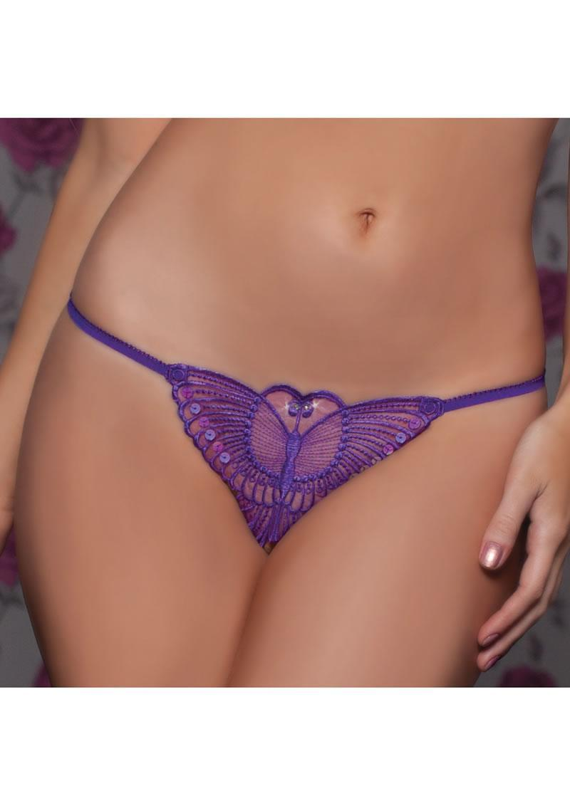 Madame Butterfly Thong -purple- O/s